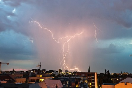 Picture of a lightning storm over Berlin