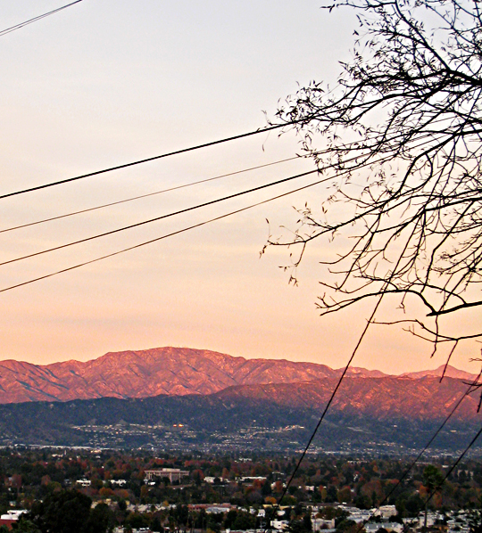 pink mountains+sunset in LA+homes+sharp