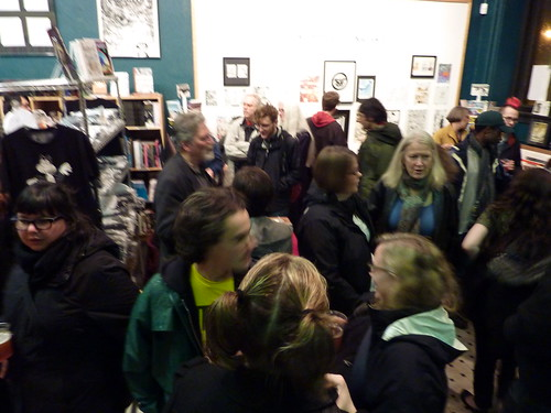 Anniversary party crowd, Fantagraphics Bookstore & Gallery, Dec. 11, 2010