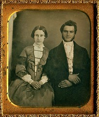 Happy Couple, 1/6th-Plate Daguerreotype, Circa 1850 (lisby1) Tags: portrait fashion century vintage photography early 19thcentury 1800s victorian tintype ambrotype taffeta daguerreotype geneology 19th earlyphotography nineteenthcentury
