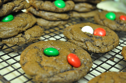 Chocolate Cookies with Mint M&Ms