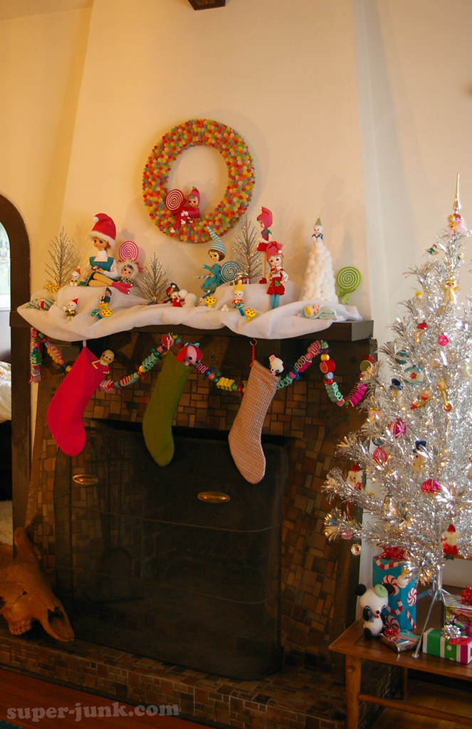 christmas mantel and little tree