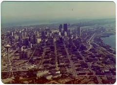 Downtown Seattle Skyline - 1975 (KurtClark) Tags: seattle skyline washington october ride helicopter lakewashington 1975 wa spaceneedle elliottbay helicopterflight october1975