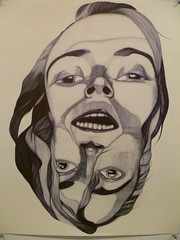 TWOHEADSAREBETTERTHANONE2 (rachaelrayforever) Tags: pen ink hair big faces drawing cooperunion heads penandink ballpointpen thecoop