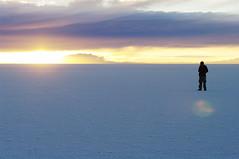 Salty Sunrise (Gregor  Samsa) Tags: sky white man clouds sunrise dawn salt bolivia overlook viewpoint plain salar uyuni salardeuyuni