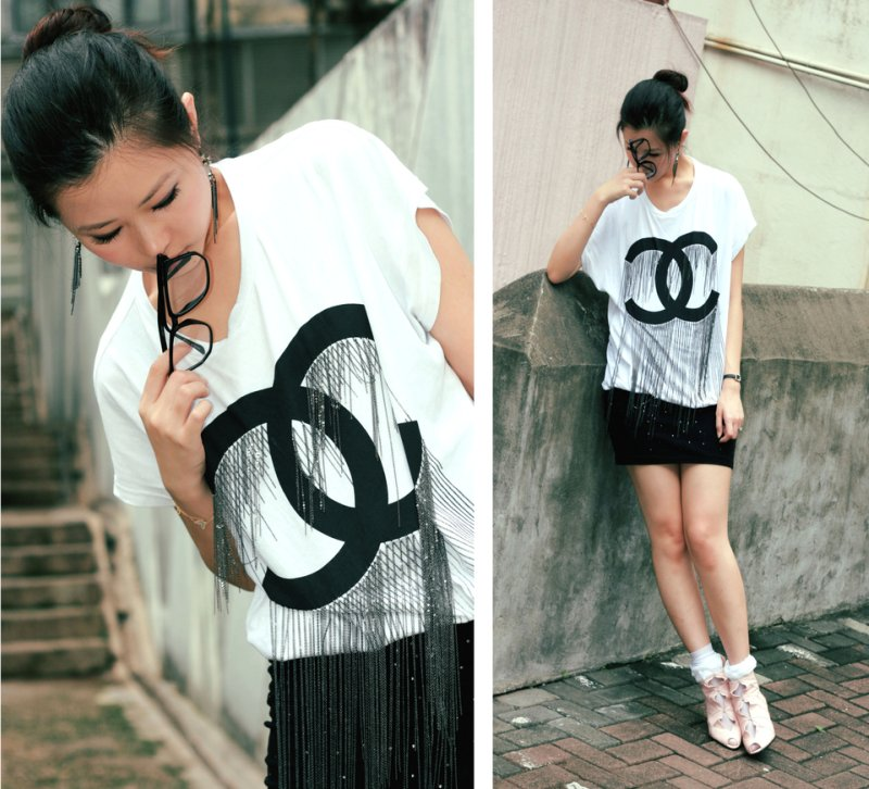 DIY Chained Chanel tee