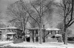 Snowy houses (hpulley) Tags: winter blackandwhite film waterloo expired ilforddelta400 canonftbn ilfotecddx ilfostop ilfordrapidfixer yellow8filter ilfotol canonfd35mmf2sscii