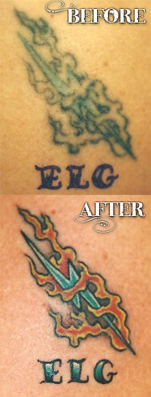 Lightning bolt tattoo restoration. Tattoo by Tim Baxley