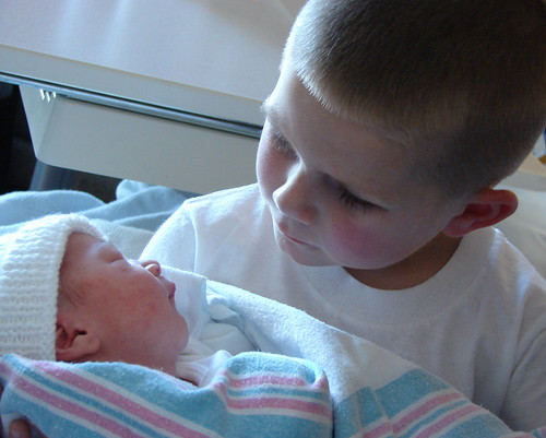 Gavin and his new baby sister