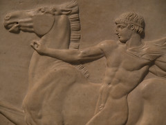 Marble relief of a youth with his horse and dog   (detail) (miltonmic) Tags: sculpture horse dog male london youth nude tivoli wind unitedkingdom relief cape marble torque hadriansvilla rearing e510 graecoroman olympuse510 miltonmic 1260mmf284
