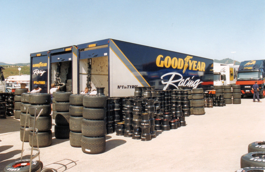 Good Year F1 tyre trailers.