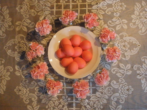 Red Eggs and 10 Jars of Carnations