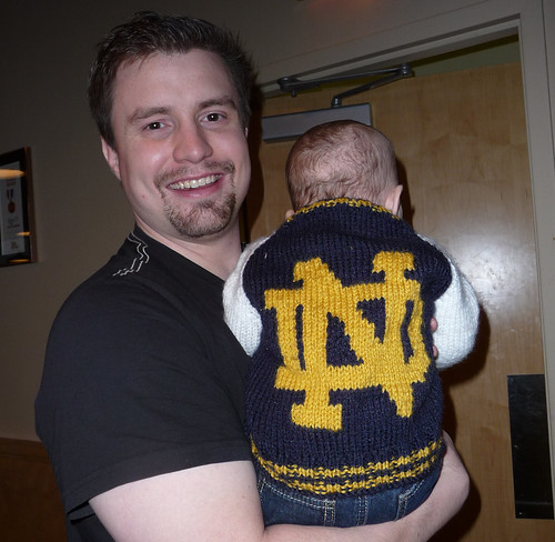 Baby James in his Notre Dame gear