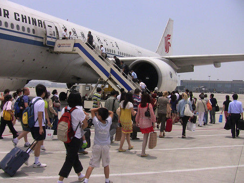 Boarding white Air China jet