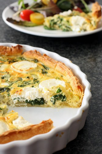quiche with watercress and goat's cheese