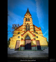 Church of Sts. Peter and Paul (HDR) (farbspiel) Tags: blue red orange colour church colors sunshine yellow photoshop germany logo geotagged religious temple photography nikon worship colorful colours religion belief wideangle bluesky holy handheld colourful spiritual dri deu hdr highdynamicrange watermark hdri superwideangle niceweather 10mm postprocessing badenwürttemberg leinfelden dynamicrangeincrease ultrawideangle photomatix wasserzeichen tonemapped tonemapping watermarking detailenhancer d7000 topazadjust topazdenoise klausherrmann topazsoftware sigma1020mmf35exdchsm topazphotoshopbundle topazinfocus geo:lat=4869265482 pfarrkirchepeterundpaul geo:lon=914292365