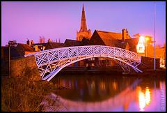 Godmanchester - The Chinese Bridge on the Great River Ouse, after Blue Hour (Yen Baet) Tags: old city uk longexposure greatbritain bridge pink england sky white reflection mill church water architecture night river twilight construction colorful stream europe cathedral unitedkingdom britain dusk antique chinese pedestrian landmark icon spire replica british bluehour renovation iconic cambridgeshire smalltown huntingdon godmanchester rivergreatouse replaced whitebridge europeancities huntingdonshire chinesebridge d700 jamesgallier bridgesofeurope bridgesofengland