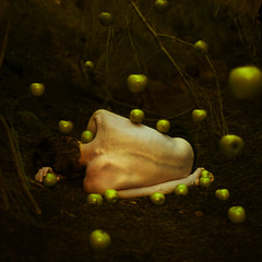 creating illusions (brookeshaden) Tags: male fruit sticks woods alone floating levitation apples freckles trick spine day6 brookeshaden