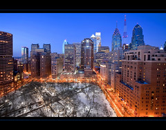 Winter Blues | Philadelphia Skyline (bku Photography) Tags: winter usa snow philadelphia night buildings lights unitedstates pennsylvania rittenhousesquare philadelphiapa philadelphiaskyline canon1635mmf28 canon5dmarkii bkuphotography