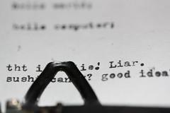 The Mad Typewriter Gang REUNITES!! (joyjwaller) Tags: blackandwhite macro typewriter ink print words gang nostalgia wereallmadhere szpakwhenceforthartthou