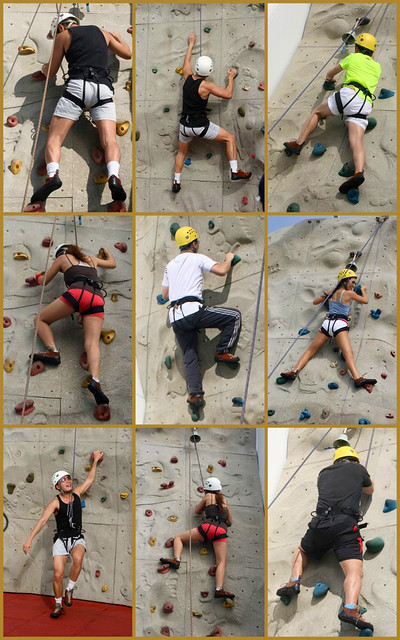 Climb the 9m high rock wall!