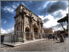 Fenced In (Matt Lazzarini) Tags: sky people italy rome roma tourism grass italia raw republic arch roman olympus tourists constantine arena empire crowds hdr 43 gladiator e600 oly archofconstantine singlerawhdr 918mm flickrunitedaward