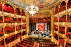 Panama National Theater (ajagendorf25) Tags: city light red house festival photoshop painting gold nikon opera theater theatre band jazz sigma chandelier national seats orchestra curtains ropes panama boxed 1020 hdr highdynamicrange d90 photomatix cs5 ajagendorf25 alexjagendorf