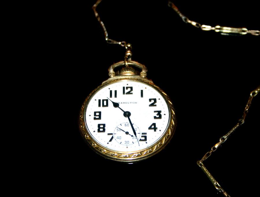 Secret Society 10kt Gold Filled Pocket Watch - Hamilton 992B Working Timepiece - Engraved Message - 02