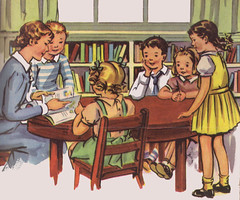Reading a story at school (katinthecupboard) Tags: school teacher childrens storytime readers schoolbooks childrens vintage booksvintage illustrationsvintage textbooksvintage