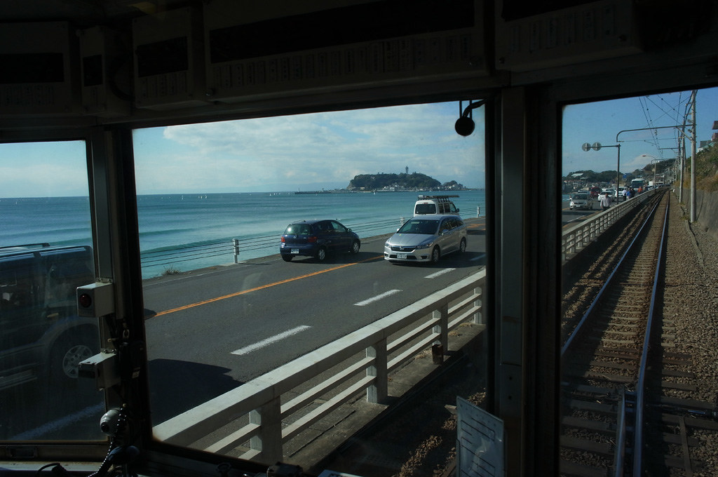 Enoshima island view from the train window of Enoden