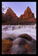 Isaac and Jacob (Bill Ratcliffe) Tags: water utah zion zionnationalpark southernutah virginriver courtofthepatriarchs d90 patriarchs zionsunset zionpatriarchs zionflood