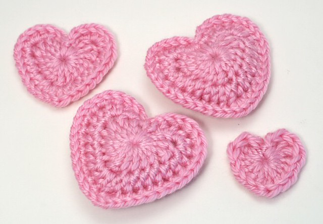 crocheted love hearts