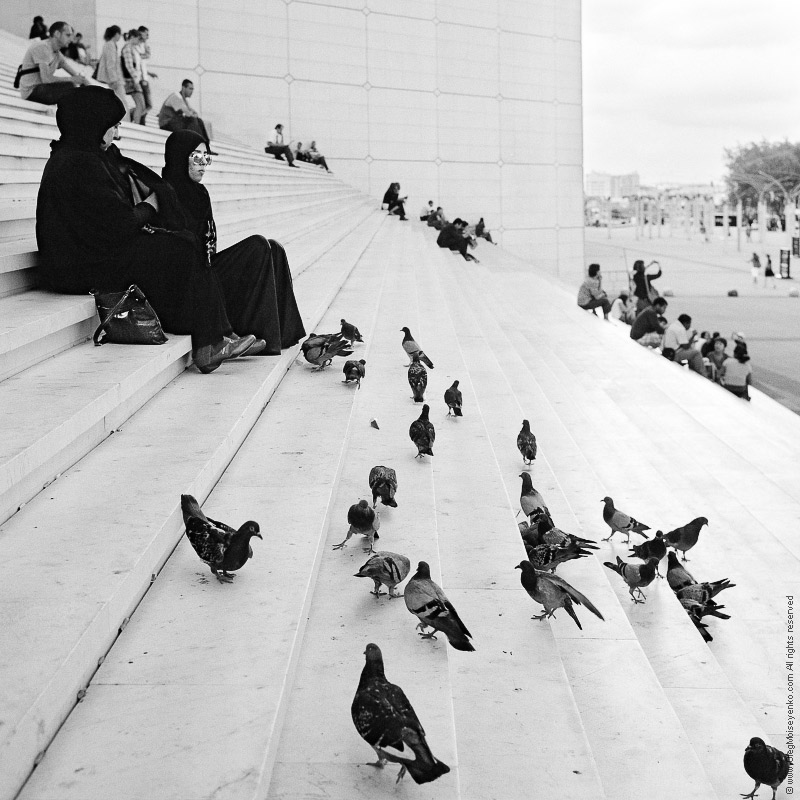 Muslim girls feed birds on the base of Grande Arche, Paris