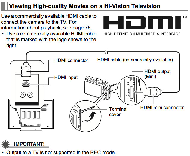 Connecting a HDMI Mini connector, on page 78 of the Casio H20G Manual