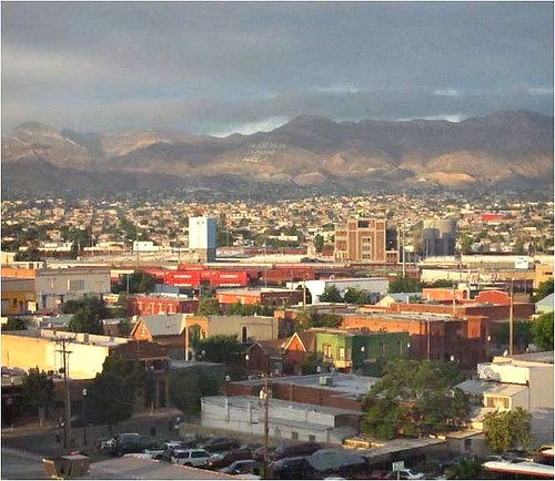 downtown El Paso, with Juarez, Mexico in the background (from Connecting El Paso)
