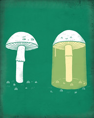 Show off (randyotter) Tags: plants white green art mushroom yellow fun happy design otter randy threadless collaboration tees randyotter