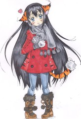 Neiko (kimmy manga) Tags: original anime cute sexy girl cat hair sketch kiss long character tiger tail manga kawaii ear yuri kimono neiko copic