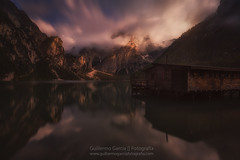 The lake house (Guillermo García Delgado) Tags: dolomites dolomiti braies lake water travel mountain sunset reflections clouds long exposure lago