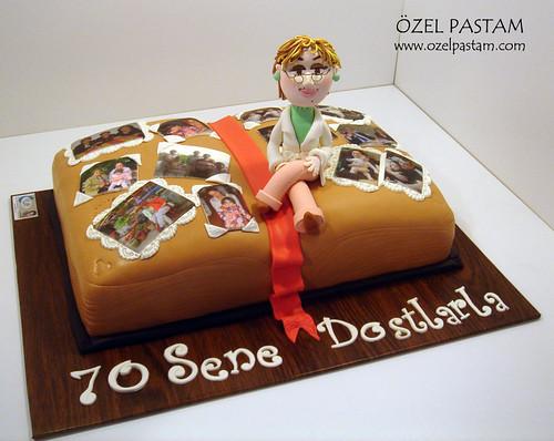 70. Yaş Foto Albüm Pastası / Photo Album Cake