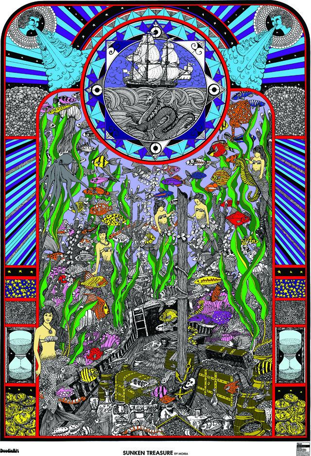 Doodle Art Sunken Treasure Coloring Page Poster
