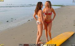 Swimsuit Bikini Models (45SURF Hero's Odyssey Mythology Landscapes & Godde) Tags: ocean morning girls sea sun hot sexy beach beautiful beauty sand women long pretty surf waves surfer board surfboard fit