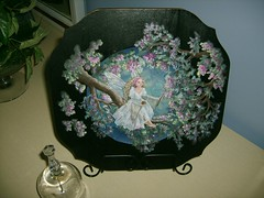 Angel Plate (suesclue0) Tags: angel wooden painted plate
