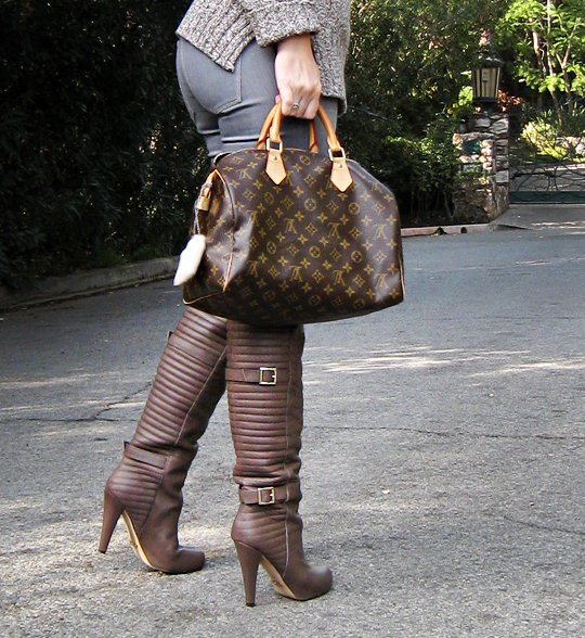 matiko over the knee boots with buckles+louis vuitton speedy bag with charms+contrast