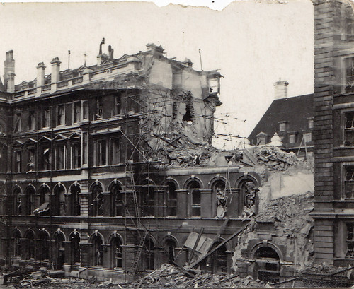 WW2 bomb damage. St Thomas's Hospital, London.
