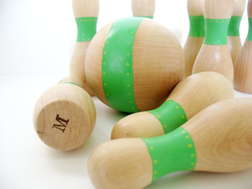 wooden Toys ( folk art ) bowling set