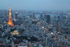 Can't get enough of that Tokyo Tower (MaineIslandGirl) Tags: christmas city sunset sky tower japan skyline night reflections lights tokyo illumination scene aerial hills deck views roppongi mori