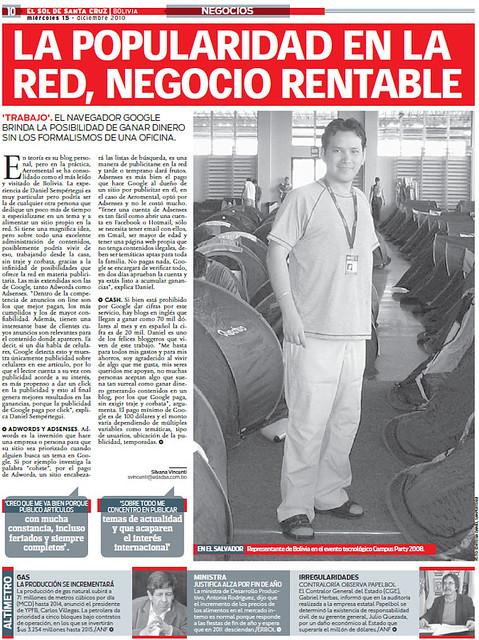 Thumb Gracias al diario El Sol de Santa Cruz por el artículo sobre Aeromental