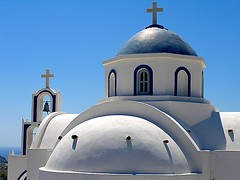 curves (Elisa Spoladore) Tags: blue white church blu chiesa santorini cupola bianco