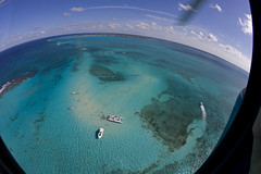 Stingray City aerial view (blueheronco) Tags: tour aerialview helicopter caymanislands grandcayman shoal caribbeansea stingraycity fisheyelense caymanislandshelicopters