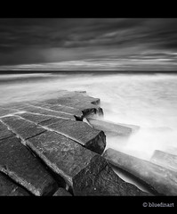 The Ledge- B&W (blue fin art) Tags: longexposure sea england bw canon square rocks north sigma northumberland lee crop ledge filters berwickupontweed scremerston coastuk